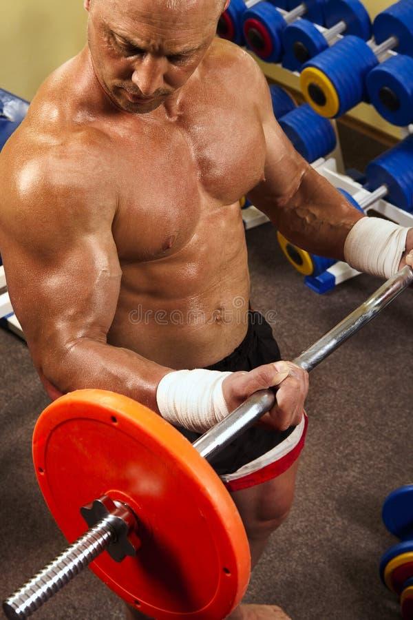 Muskulöser Mann mit Gewichten eines Stabes bei der Handausbildung stockfotografie