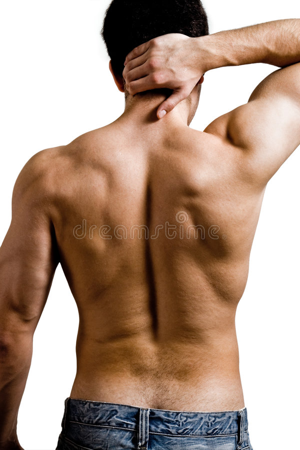 Muskulöser Mann mit rückseitigem Stutzenschmerz lizenzfreie stockfotos