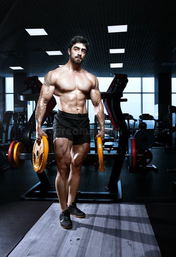 Muskulöses athletisches Bodybuildereignungsmodell lizenzfreie stockfotografie