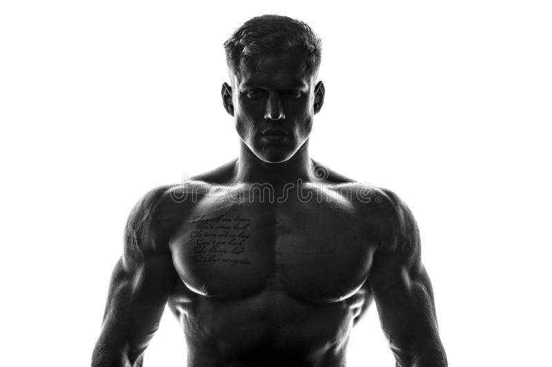 Muskulöses männliches Modell stockbilder