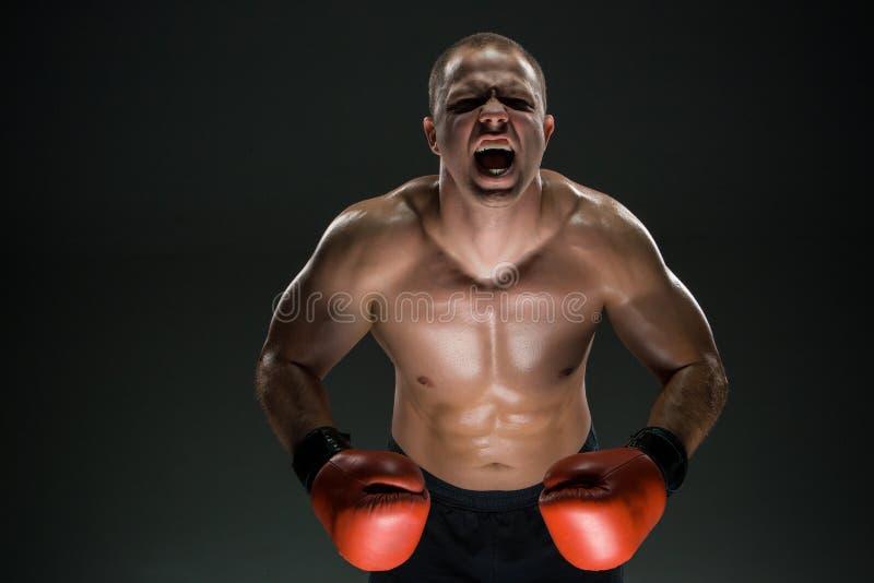 Muskulöses Mannschreien und -brüllen stockfotografie