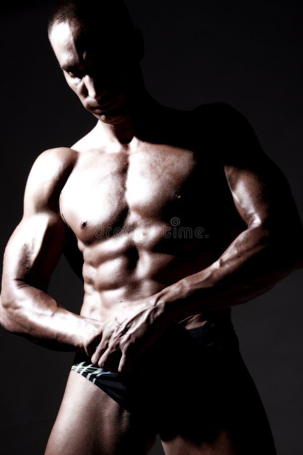 muskulöst sexigt för huvuddelbyggmästare arkivfoton