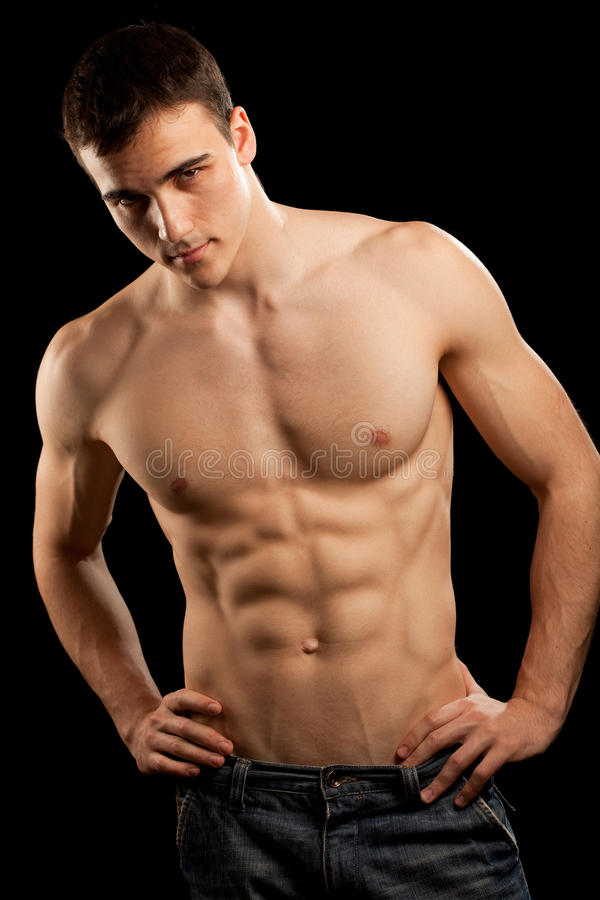 muskulöst sexigt för man royaltyfri foto