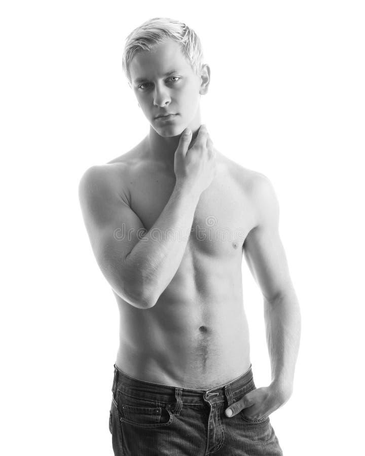 muskulöst sexigt shirtless för man royaltyfri fotografi