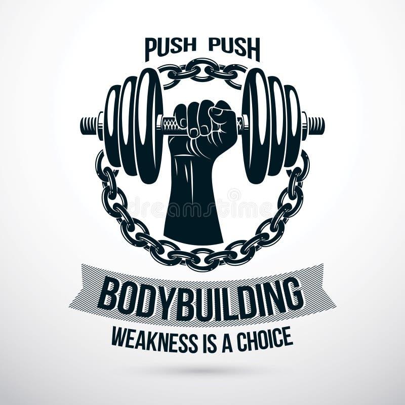 Muskul?se athletische Sportlerarmholding-Diskettengewichtsstummglocke und verfasst mit Eisenkette Bodybuildender Gewichthebenturn stock abbildung