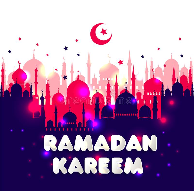 Muslim abstract greeting banners. Islamic vector illustration at sunset. royalty free illustration