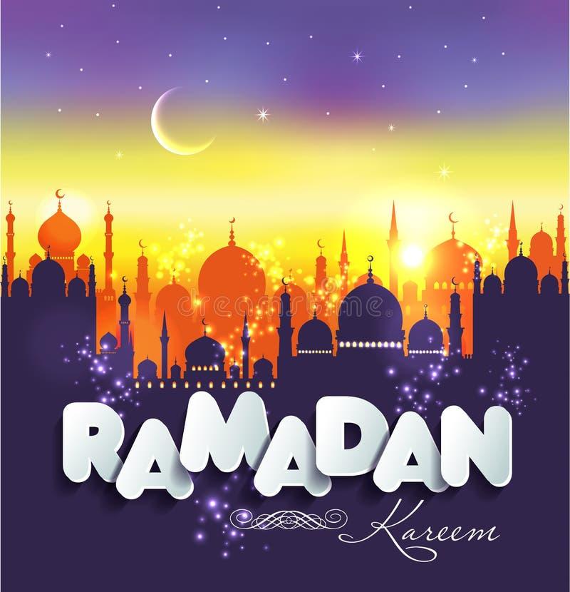 Muslim abstract greeting banners. Islamic vector illustration at sunset. Arabian Ramadan Kareem. stock illustration