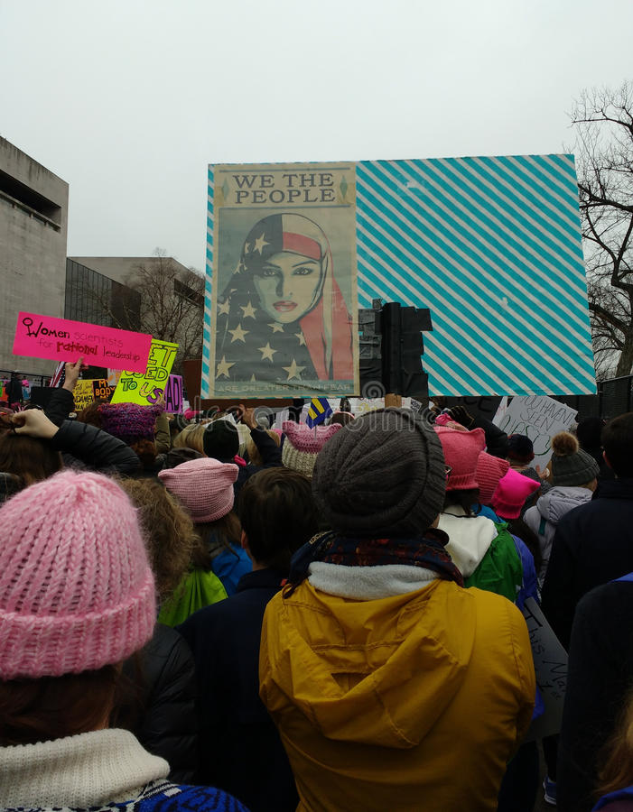 Muslim American Women, We The People Are Greater Than Fear, Women`s March Crowd Marching, Signs and Posters, Washington, DC, USA. Women`s March on Washington stock image