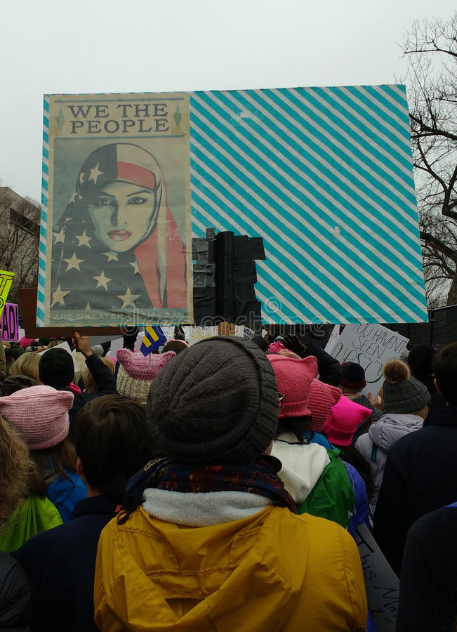 Muslim American Women, We The People Are Greater Than Fear, Women`s March Crowd Marching, Signs and Posters, Washington, DC, USA stock photos