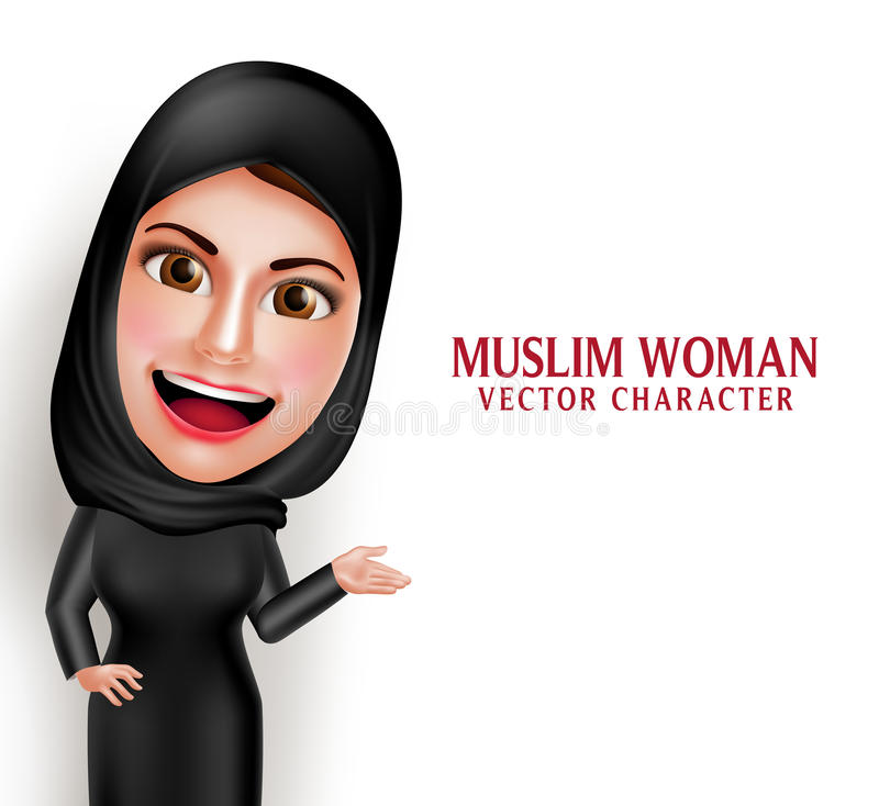 Muslim arab woman vector character presenting in empty white space vector illustration