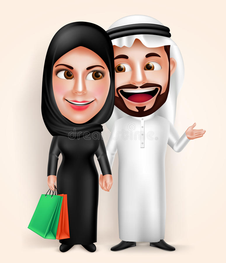 Muslim arab young couple vector characters wearing traditional emirati dress royalty free illustration