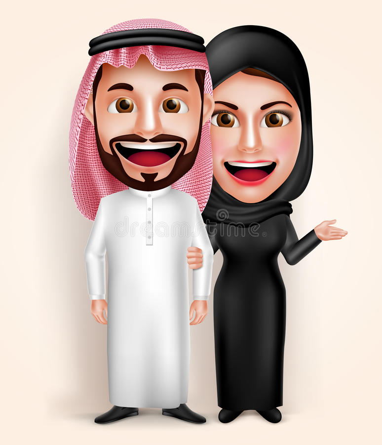 Muslim arab young man and woman couple vector characters wearing traditional vector illustration