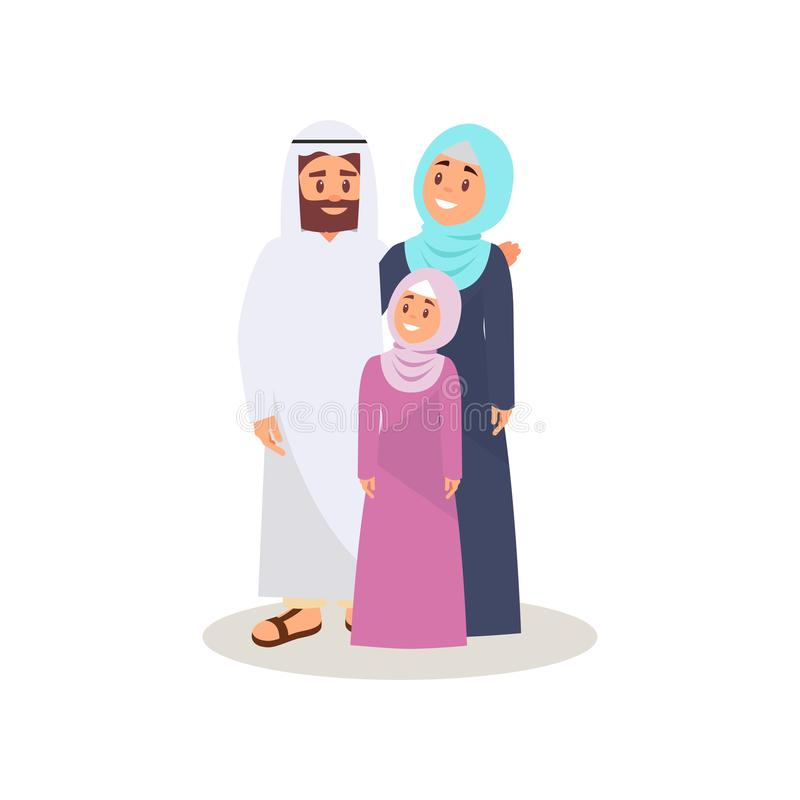 Muslim arabic family in traditional clothing vector Illustration, happy family concept on a white background royalty free illustration