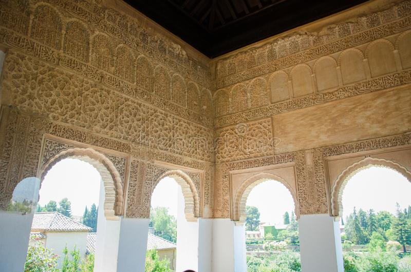 Muslim art of the Alhambra palace in Granada. Spain royalty free stock photo