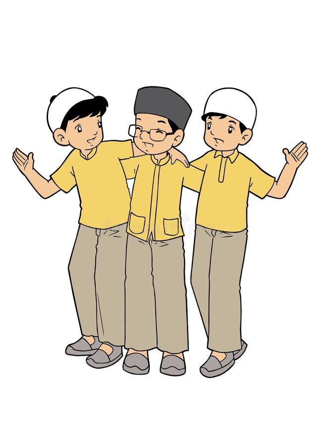 Muslim asian kids friendship royalty free illustration