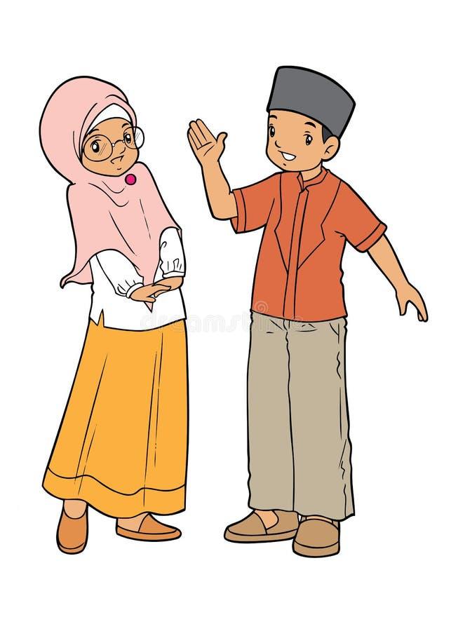 Muslim asian kids palying royalty free illustration