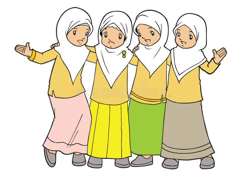 Muslim asian little girls friendship vector illustration
