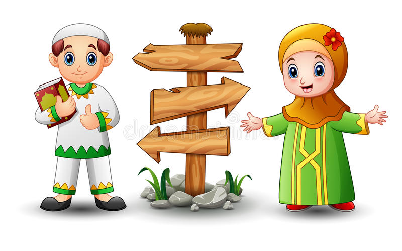 Muslim boy cartoon holding quran with girl and blank wood arrow sign. Illustration of Muslim boy cartoon holding Quran with girl and blank wood arrow sign royalty free illustration