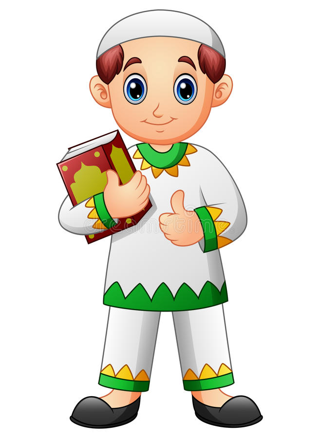 Muslim boy cartoon holding quran and giving thumb up. Illustration of Muslim boy cartoon holding Quran and giving thumb up royalty free illustration