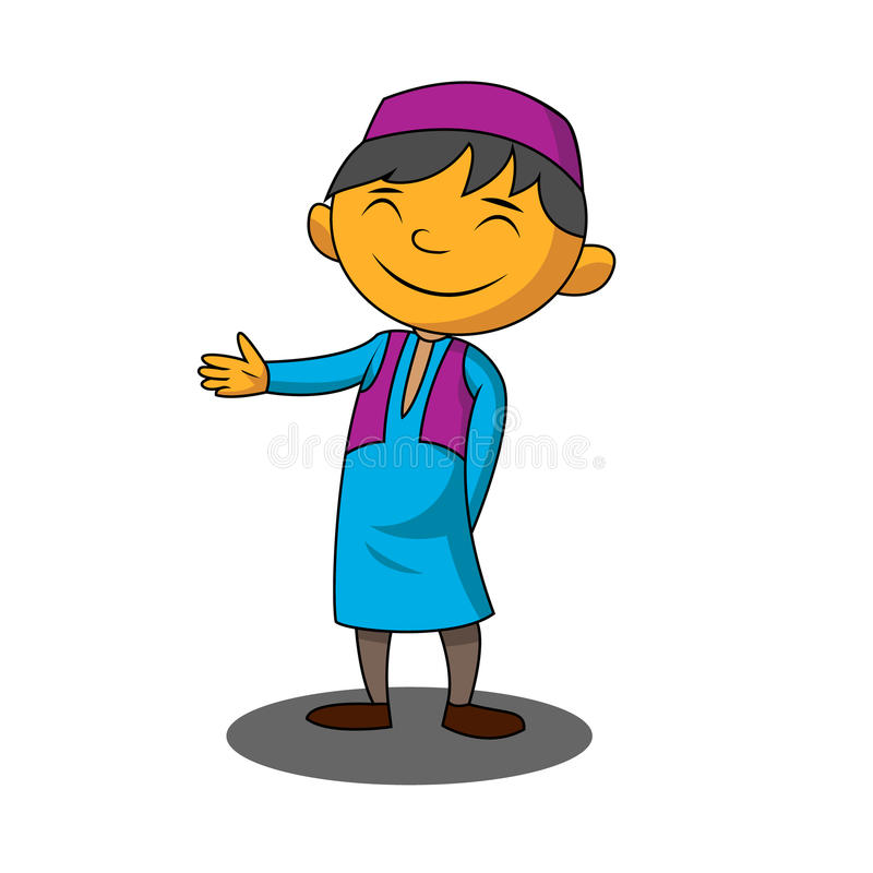 Muslim boy. In cartoon style vector illustration