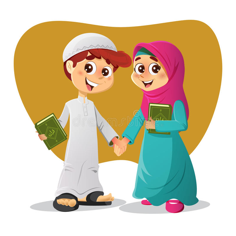 Muslim Boy and Girl With Holy Quran Book. Muslim Arab Boy and Girl Holding Holy Quran Books royalty free illustration