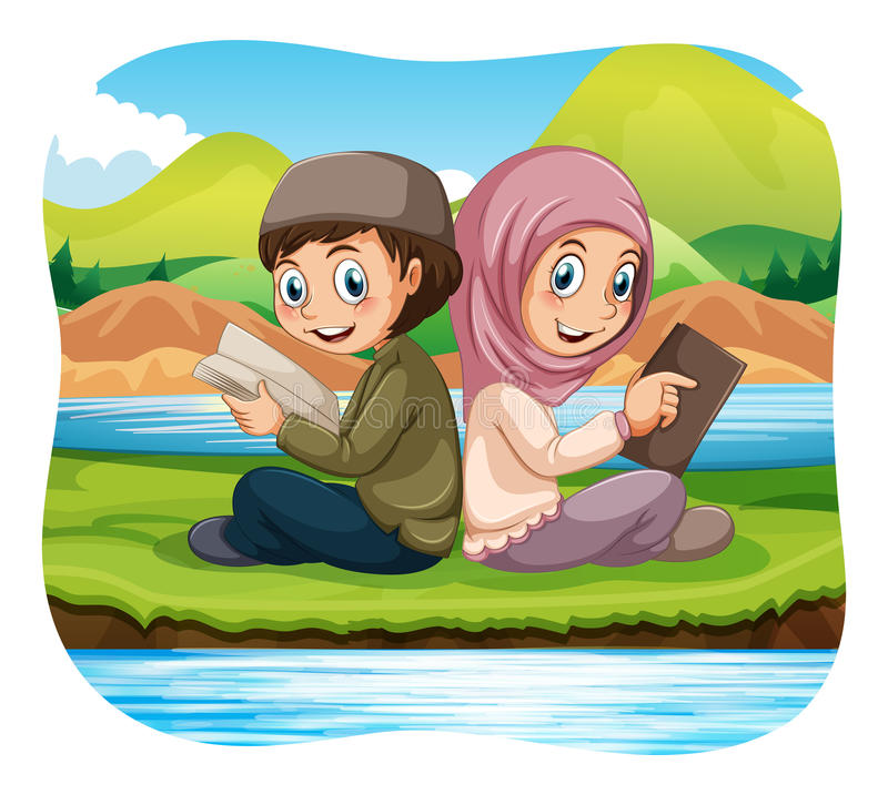 Muslim boy and girl reading in the park royalty free illustration