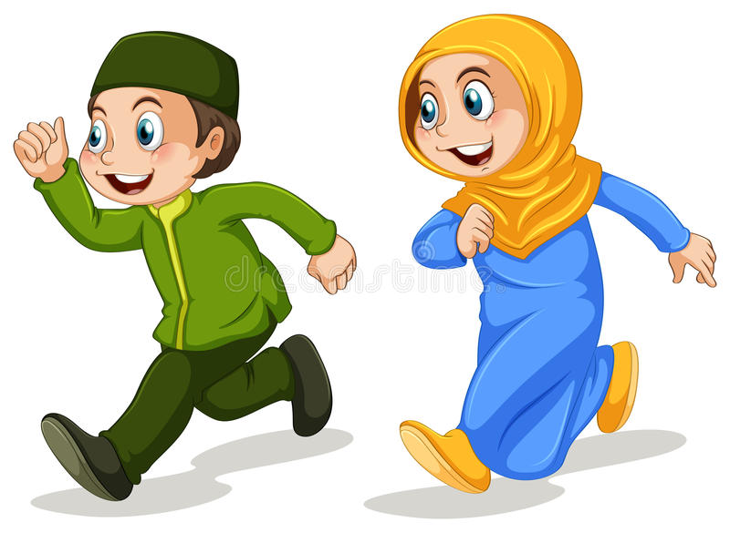 Muslim. Boy and girl muslim running vector illustration