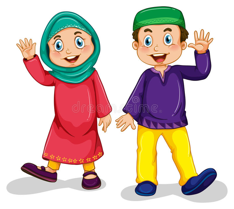Muslim boy and girl. Boy and girl muslim in traditional costume stock illustration