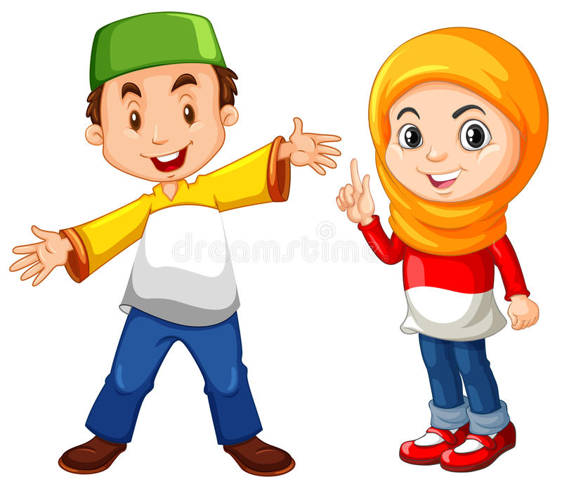 Muslim boy and girl in traditional costume stock illustration