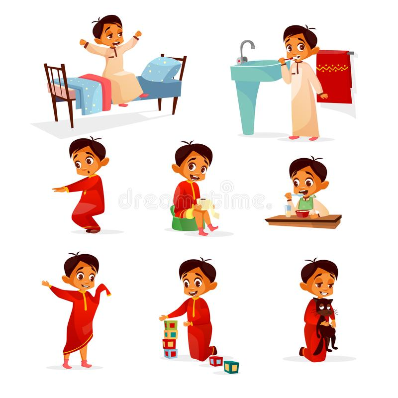 Muslim boy kid daily routine vector cartoon illustration. Flat design of boy child in morning bed, washing and brushing teeth in bathroom, exercises, lunch or vector illustration