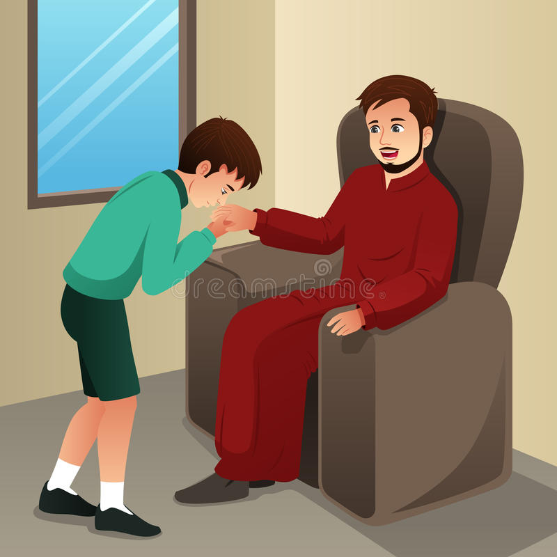 Muslim Boy Kissing His Father Hand stock illustration