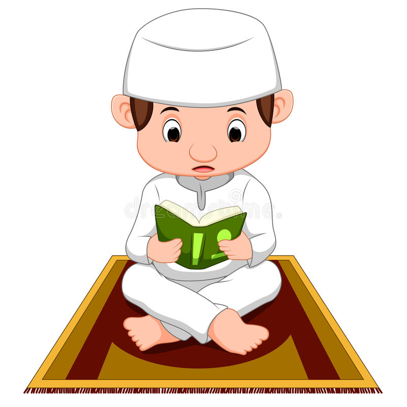 Muslim boy praying. Illustration of muslim boy praying royalty free illustration