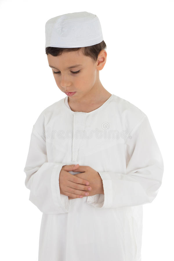 Muslim boy praying stock photography