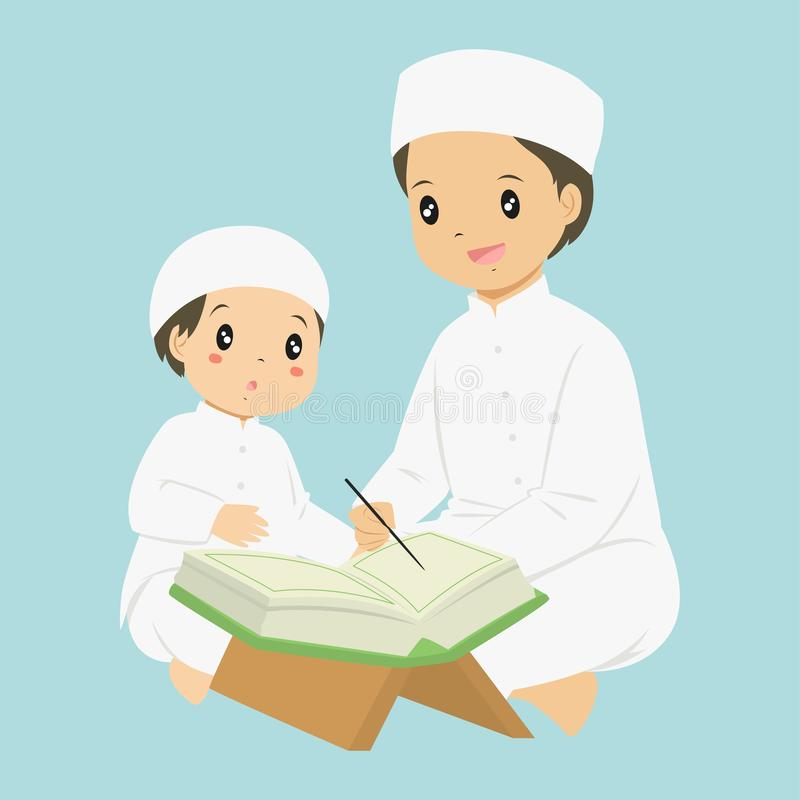 Muslim Boy Reading Quran Vector. A man teaching a young boy to read quran, cartoon vector royalty free illustration