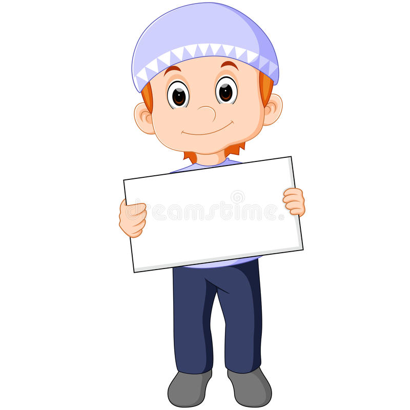 Muslim boy with sign board. Illustration of muslim boy with sign board vector illustration