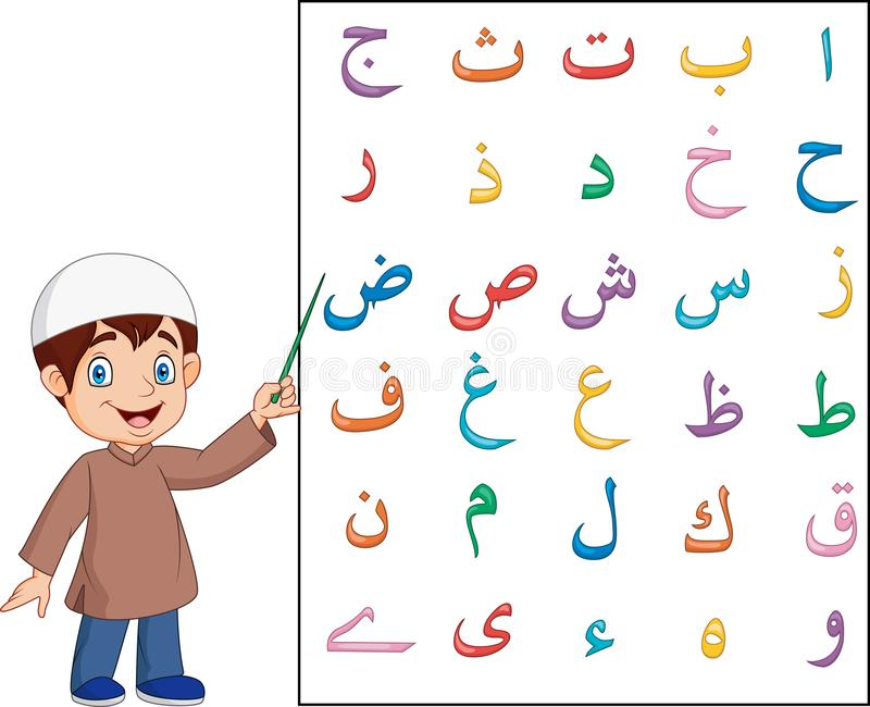 Muslim boy teaching arabic alphabet. Illustration of Muslim boy teaching arabic alphabet royalty free illustration