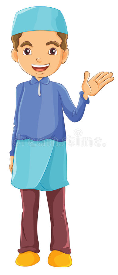 A Muslim boy waving his left hand stock illustration
