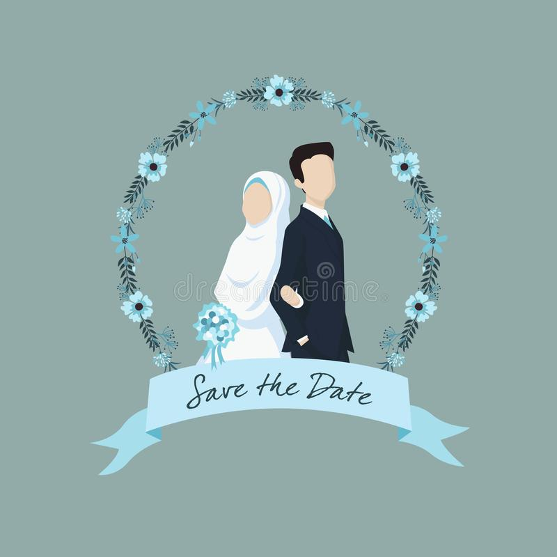 Muslim Bride and Groom Illustration with Ribbon Label and Flower Ornaments. Beautiful muslim wedding couple with hijab. Bride and groom cartoon character royalty free illustration