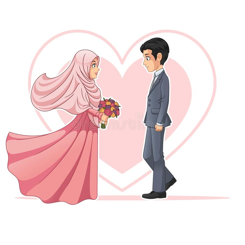 Muslim Bride and Groom Looking at Each Other Cartoon Character Design Vector Illustration. Muslim bride and groom looking at each other cartoon character design stock illustration