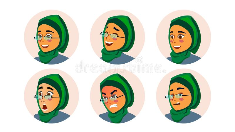 Muslim Business Woman Avatar Vector. Woman Face, Emotions Set. Hijab. Muslim Female Creative Placeholder. Modern Girl. Isolated Illustration royalty free illustration