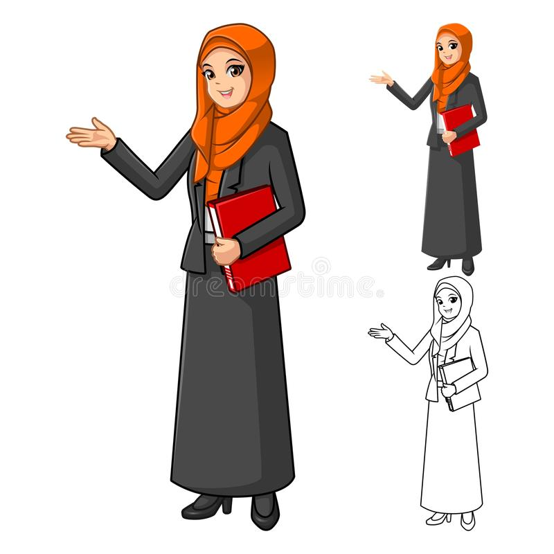 Muslim Businesswoman Wearing Orange Veil or Scarf with Welcoming Hands vector illustration