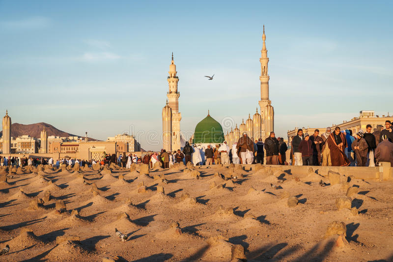 Muslim cemetary at Nabawi Mosque in Madinah. stock photos