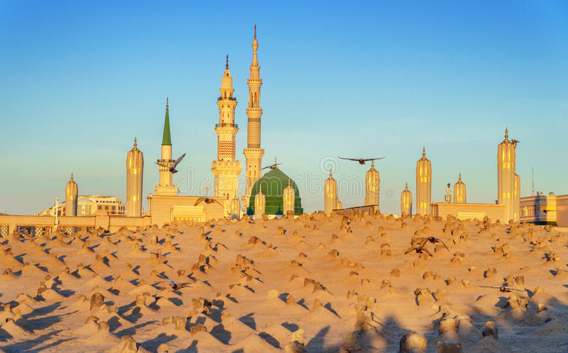 Muslim cemetary at Nabawi Mosque in Madinah. royalty free stock photography