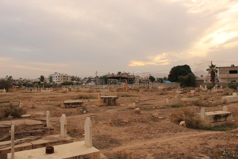 Muslim Cemetery in Jericho, Palestine stock images