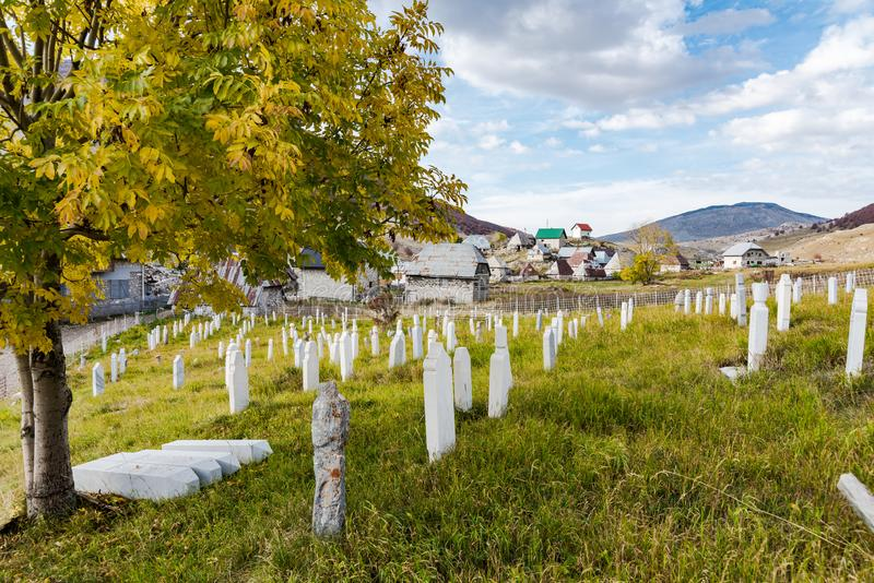Muslim cemetery in Lukomir,Bosnia. And Herzegovina stock photo