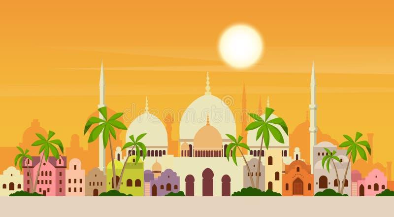 Muslim Cityscape Mosque Building Religion. Flat Vector Illustration royalty free illustration