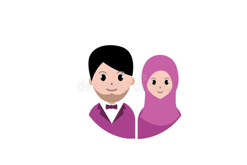 Muslim couple cartoon avatar. royalty free illustration