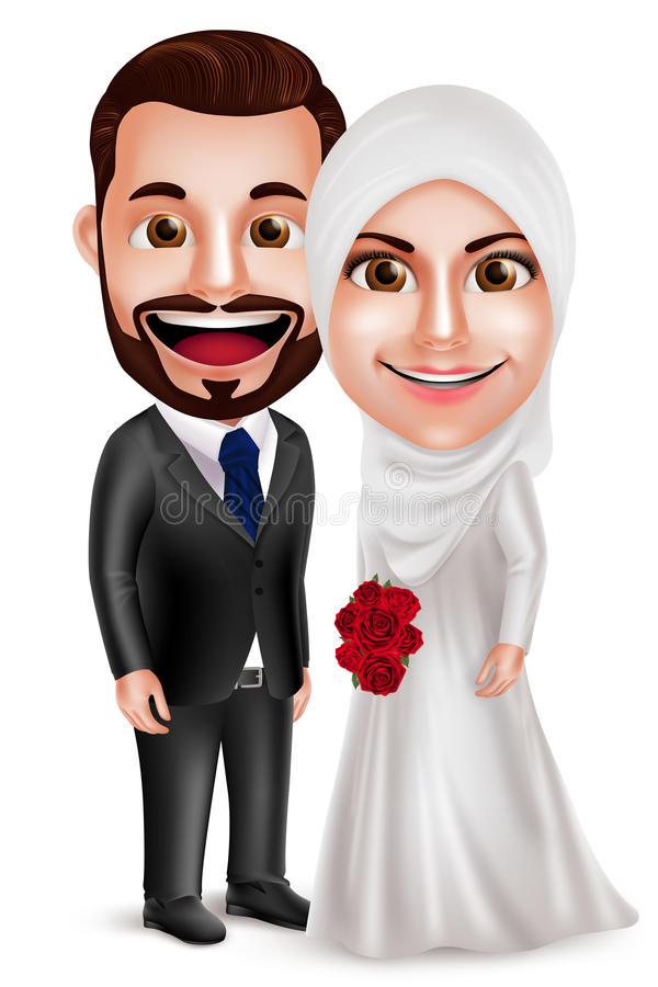 Muslim couple vector characters as bride and groom wearing white wedding dress. Holding bouquet standing side by side isolated in white background. Vector stock illustration