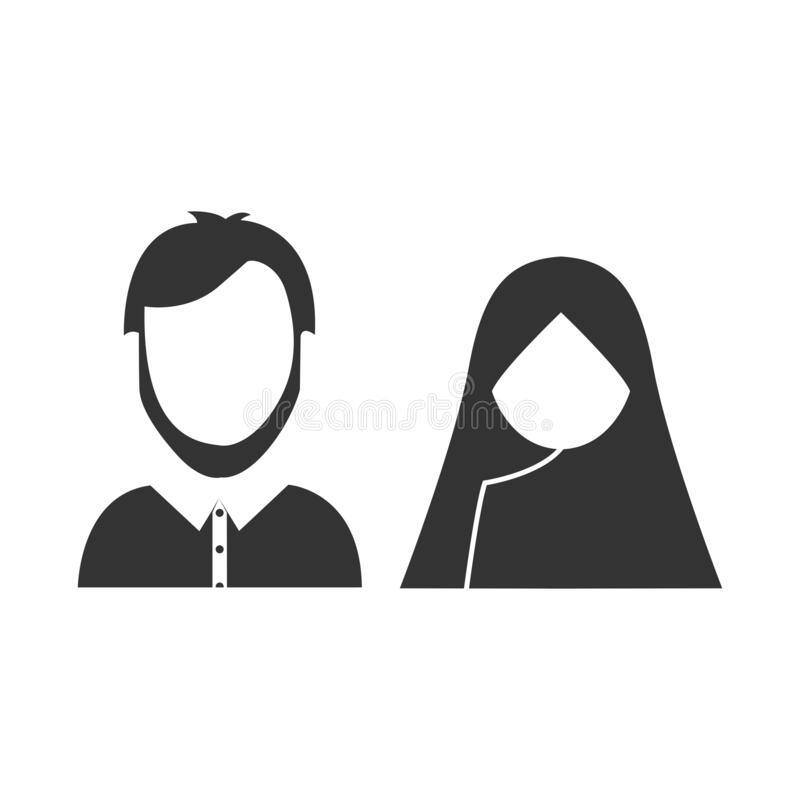 Free Muslim Couple Vector Illustration With Siluet Style Royalty Free Stock Photography - 175376397