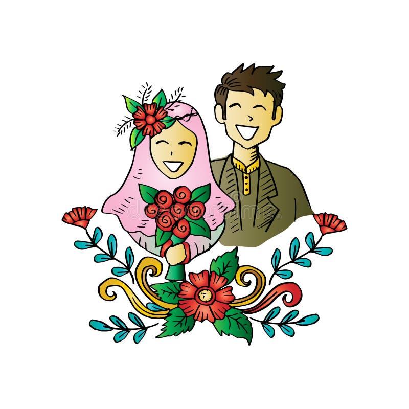 Muslim couple wedding card. royalty free illustration